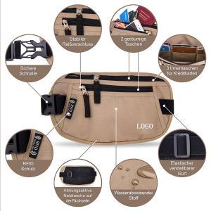 Buy cheap Light Brown Waist RFID Travel Bags Wallet  for Passport / Cash / Sport product