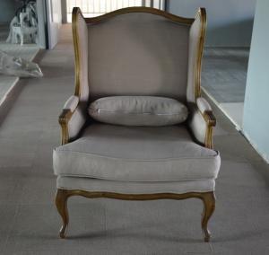Buy cheap O linho francês do estilo da poltrona clássica da madeira maciça estofou a cadeira traseira da asa product