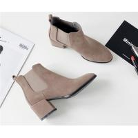 Buy cheap Flat Toe Ankle Length Boots / Suede Mid Heel Chelsea Boots With Elastic Band product
