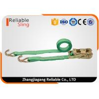 China WLL 2T Green Ratchet Straps with Hooks , Double J Hook Ratchet Straps for Cargo Security on sale