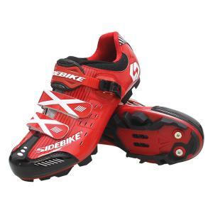 Custom Waterproof Cycling Footwear , Waterproof Flat MTB Shoes Red Color