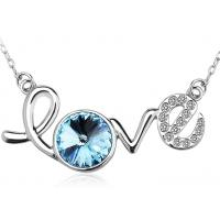 Buy cheap Rhodium Plated Sterling Silver Love Letter Pendant Necklace For Lady Wedding from wholesalers