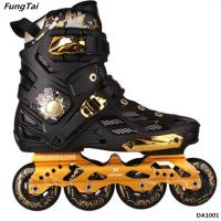 Buy cheap Mens And Womens 4 Wheels Inline Skate Shoes Street Slalon Roller Patins Black from wholesalers