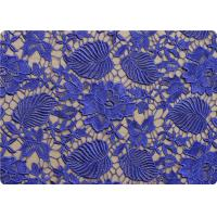 Buy cheap Flower 100% Polyester Lace Overlay Fabric Material Purple / Black Lace Cloth product