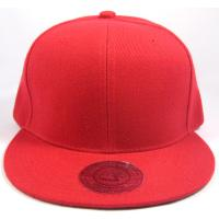 Quality Red Blank Cotton / Acrylic Snapback Baseball Caps With Round Visor Hand Printing for sale
