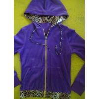 Buy cheap Purple Velour Color Block Womens Zip Up Hoodies With Kangaroo Pocket High End product