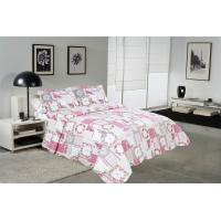 Buy cheap White And Pink Printed Quilt Set 100 Percents Cotton For Household Bedroom product
