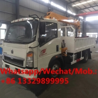 China good price China made SINO TRUK HOWO 2T truck with crane for sale, HOT SALE! HOWO diesel crane mounted on cargo truck on sale