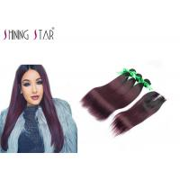 Buy cheap Human Hair Bundles With Lace Closure Ombre Burgundy 1B 99J Bundles With Closure product