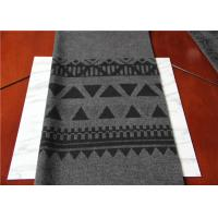 Located 50% Wool Jacquard Scarf Fabric Gray And Black 150 Cm Width ISO9001