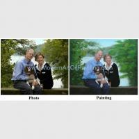 China Custom Couple Portrait painting oil From Photo Husband and Wife with their Pet Painting on Canvas on sale