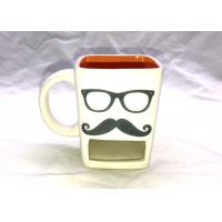 Mustache Glasses 3D Ceramic Mug Cookie Dunk Mug For Drinking / Biscuit Pocket
