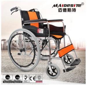 Comfortable Aluminium Folding Wheelchair Skid Proof Handle Brake / Rear Brake