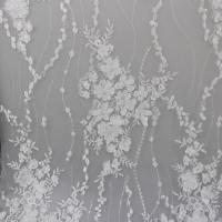 Delicate Embroidery Polyester On Nylon Mesh Lace Fabric With 3D Flower Design