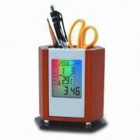 Buy cheap Pen Holder with Solid Wood Material, LED Backlight Clock and Electronic Calendar Features product