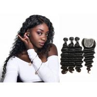 Buy cheap Double Sewed Weft 8A Virgin Brazilian Hair Extensions Deep Wave With Frontal from wholesalers