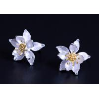 Buy cheap Gold Plated Sterling Silver Flower Earrings , Lotus Flower Silver Earrings For Ladies product