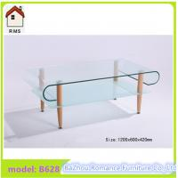 Quality 2015 new hot bending glass coffee table wood legs glass coffee table B628 for sale