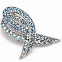 Buy cheap Fashionable Crystal Brooch with Imitation Rhodium Plating, Various Colors and Plating are Available product