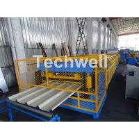 Buy cheap Customized Trapezoidal Profile Roof Roll Forming Machine With Hydraulic Post Cutting Device product