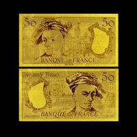 China 24K Gold Plated 50 Franc Gold Foil Banknote Double Logo Design , Value Collection on sale