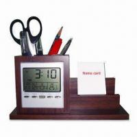 Buy cheap Wooden Pen Holder with Clock and Namecard Holder product