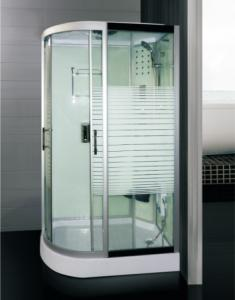 Buy cheap White Stripe 5mm Oughened Glass Sliding Door Shower Room ABS Tray product