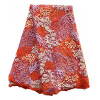 China Natural style embroidered big lace fabric multi-color lace beaded fabric for girl dress on sale