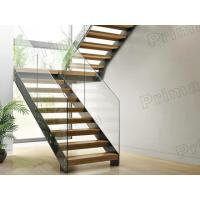 Buy cheap prefabricated stairs glass railing wood tread staricase with double  beam stringer product