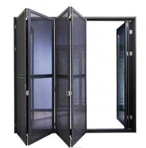 Buy cheap Soundproof Black Aluminium Bifold Doors , Aluminum Mosquito Net Door product