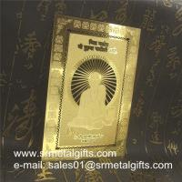 China Etched Sandblast Gold Metal Cards, custom chemically etching metal cards wholesale