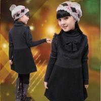 Buy cheap Uneven Grey Turtleneck Little Girls Winter Dresses With Bow 5 Year Old Girl Clothes product