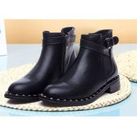 Buy cheap American Style Womens Genuine Leather Martin Boots With Metal Rivets And Side Zipper product