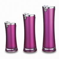 Buy cheap Round Lotion Bottles, Made of Acrylic, Available in Pink, OEM Orders are Welcome product