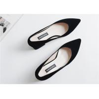 Quality Beautiful Sheep Suede Comfortable Trendy Shoes V Shaped Closed Toe Thick Heels for sale