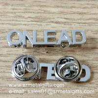 Buy cheap Monogram lettering silver emblem pins, metal monogram lapel pins, product