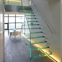 China Straight Mild Steel Glass Modern Floating Staircase / Prefab Steel Glass Stair Indoor on sale