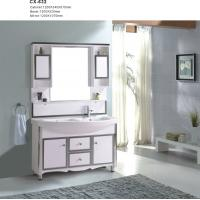 Buy cheap 120cm Wide PVC Floor Mounted Bathroom Cabinets With Double Basin And Mirror product