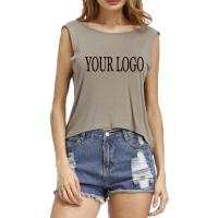 Buy cheap 2019 High Quality Custom Printing sexy fashion blank sleeveless women t shirt with your logo product