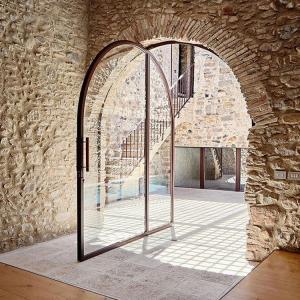 Buy cheap ODM Aluminum Interior Pivot Doors Black Aluminum With Round Top product