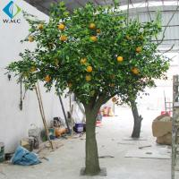 Buy cheap Fiberglass Trunk Artificial Fruit Tree , Indoor Decoration Fake Orange Tree product