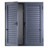 Buy cheap Internal Aluminium Louver Doors Swing Up And Down With Frosted Glass Panels product