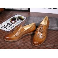 Quality High End Comfortable Trendy Shoes Classical Mens Brown Wingtip Brogues Platform Heel for sale