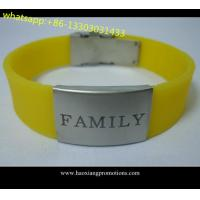 Buy cheap Custom logo double sided silicone wristband With laser engraving metal product