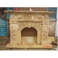 Buy cheap Flowers and Leaves White Stone Fireplace Mantel product