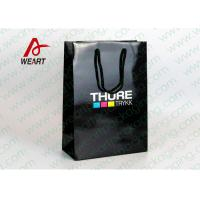 Buy cheap CMYK Logo Black Custom Paper Shopping Bags With Handle Glossy Lamination product