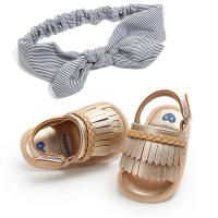 Buy cheap In stock PU Leather Tassel Soft sole baby barefoot sandals with hair band product