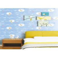 Buy cheap White Cartoon Kids Bedroom Wallpaper Light Blue Embossed Vinyl Wallpaper product