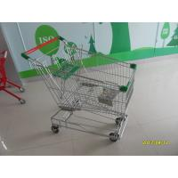 China 125L Asian Wire Shopping Trolley On Casters With Green Plastic Parts CE TUV wholesale