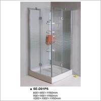 Buy cheap Square Simple Hinged Door Shower Enclosures Shower Room With Painting Glass product
